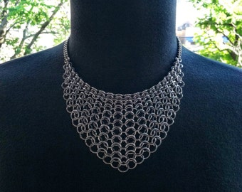 Steel Mesh Bib Necklace