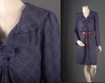 Blue dress dotted frill shoulder pads midi women size S small 10