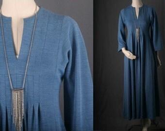 Blue Maxi dress Kimono sleeves pleats long hippie bohemian size XS or S extra small or small