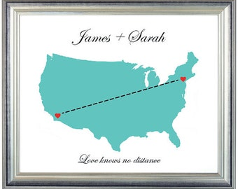 US Long Distance Map Print - Printable love map print at home