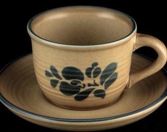 "Vintage Rare HTF Pfaltzgraff Folk Art Coffee Cup/Saucer Set or Bread Butter 7"" Plate"