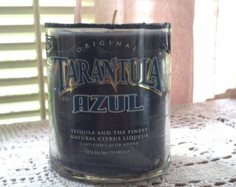 50% OFF SALE // Black Tarantula Tequila Candle recycled upcycled bottle/ Man cave bar decor
