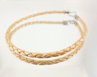 Bolo Braided Leather Bracelet Metallic Gold 10pk  #642
