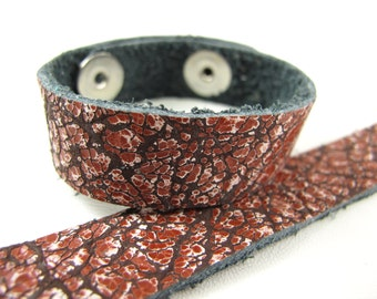 "Rust Acid Wash Leather Cuff Bracelet 5/8"" Wide, #57-85811215"
