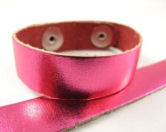 "Metallic Hot Pink Leather Cuff Bracelet 5/8"" Wide, #50-85831010"