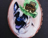 St Patrick's Day German Shepherd Original Art Pin