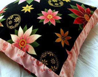 Pillow, Flowers, Pink & Gold Metallic