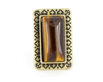 Elegant Vintage Gold-tone Carved Rectangular Brown TIGER'S EYE Stone Ring,Size Adjustable <D8>