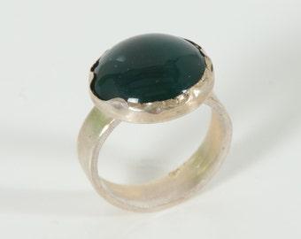 3 Days Sale - Green Agate ring - Sterling Silver stone Ring