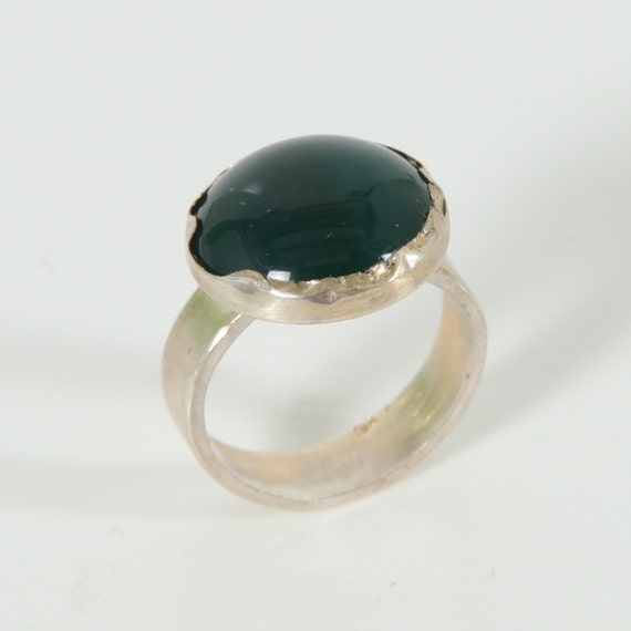 green agate ring sterling silver ring