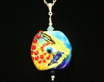 Reef Angle, Very Colorful Handmade Lampwork Moretti Glass Focal Bead Pendant, Red, Yellow, Green, Blue, Turquoise