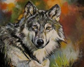 Wolf a print of an original acrylic painting