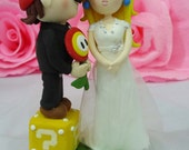 Wedding cake topper Super Mario and Princess Peach with Fire flower and coin box clay doll, clay figurine decor, clay miniature wedding gift