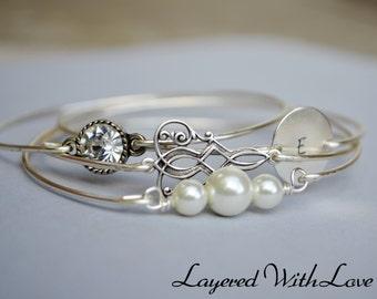 Personalized Silver Bangle Set- Initial Bangle- Stamped Bangle- Fleur De Lis Bangle- Bangle- Silver Jewelry- Bridesmaids Gifts-Wire Bangle