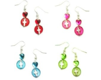 Crystal Heart and Silver Cross Drop OR Dangle Chain Earrings Fashion Jewelry in Red, Pink, Green, Blue, and Clear White