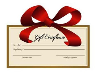 Gift Certificates - Unique & Memorable Gifts for Christmas, Birthdays, Anniversary, etc.