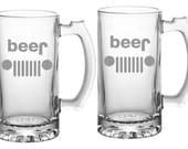 Jeep Beer Glass  Choice of Pilsner, Beer Mug, Pub, Wine Glass, Coffee Mug, Rocks, Water Glass Sand Carved