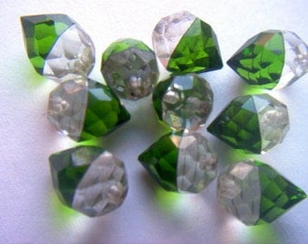 Vintage Faceted Green and Crystal Dangle Bead x 8    # CC 9
