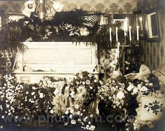 Deceased Man in Coffin RPPC Antique Post Mortem Photograph Memento Mori