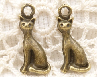 Tiny Sitting Cat Charms, Antique Bronze (6) - A61