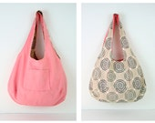 reversible light weight salmon pink and gray circles print cotton bag
