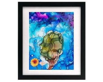 8.5 x 11 Blue Purple Abstract Tree Painting Art Giclée Print