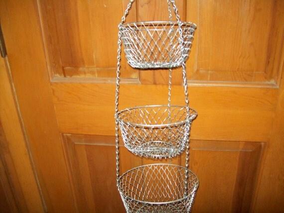 3 Tier Hanging Basket Mesh Wire Kitchen Vegetables Fruits