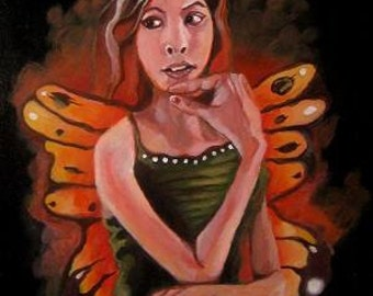 "Halloween Fairy Original acrylic painting 9x12"""