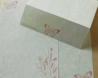 Parchment paper stationery set. Writing paper hand stamped with bulrushes and butterfly in a soft pink, set of 30.