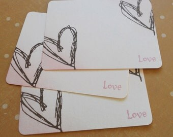 Wedding wish cards, alternate guest book, notecards hand stamped with two hearts and 'love' in soft pink, set of 10.