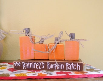Custom Wooden Pumpkin Patch Family of 4 Personalized Blocks