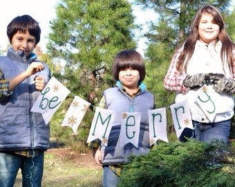 Christmas Burlap Garland Banner / Photo Prop