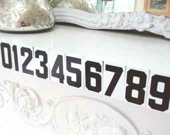 VINTAGE SIGN NUMBERS - 1-10 - Metal - Tin - Black White - Individual - Back to School - Birthday - Phone Number