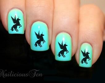 Fab Black Unicorn Nail Art Water Transfer Decal