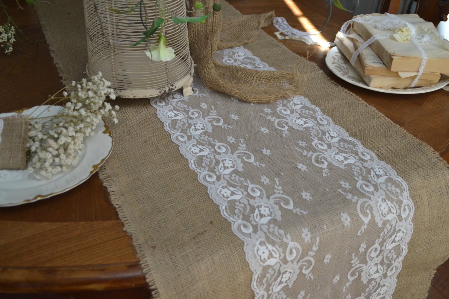 Burlap And Lace Table Runners 96 By18 White