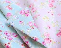 Aqua Blue Fabric Pink Flower, Aqua Coordinate Fabric, Shabby Chic Flower White Polka Dots, Pink Floral Cotton,- Fabric by Yard One Yard