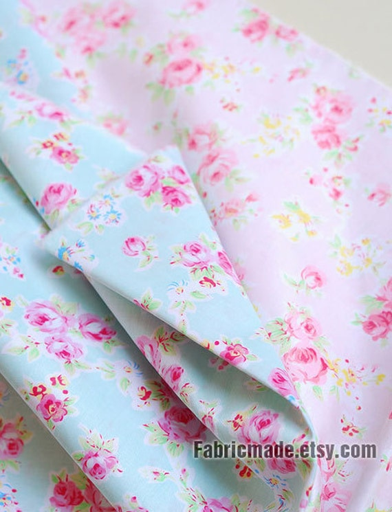 Sale Aqua Blue Fabric Pink Flower Coordinate