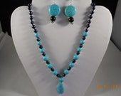 SALE Black Onyx and Turquoise Beads and Pendant Necklace and Earrings Set