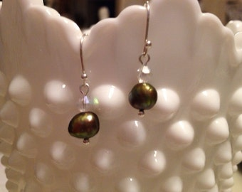 Sage Green Freshwater Pearl Earrings