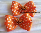 Pumpkin Hair bows Girls Orange White Polka Dots