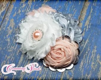Silver, Peach Hair Accessories, Grey, Gray Headband, Baby Girl Hair Bow, White Fabric Flowers Clip, Flower Headband, Flower Brooch