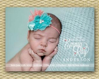 Birth Announcement Baby Girl Birth Announcement Baby Boy Photo Announcement It's a Girl It's a Boy Baby Announcement - Emma Style