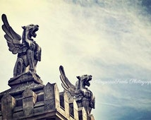 Barcelona Spain photo, Winged Lions, Architecture, Mystical, Gryphon, Griffin, Fantasy, Wall decor, 8x12,  Street photography, gift, for him