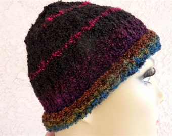 Boucle rainbow hat with rolled edge hand knitted