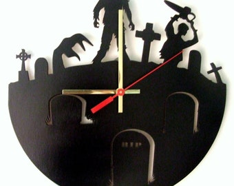 Zombie. Modern wooden wall  clock.