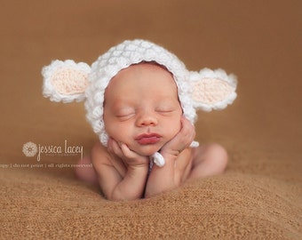 CROCHET PATTERN: Little Lamb Bonnet - permission to sell finished items - digital download