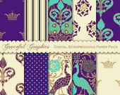 Scrapbook Paper Pack Digital Scrapbooking Background Papers Elegant PEACOCKs Purple Turquoise White 10 Sheets 8.5 x 11 1752gg