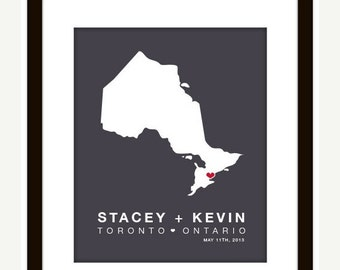 ANY Canadian Province Wedding Map Art Print (Ontario)