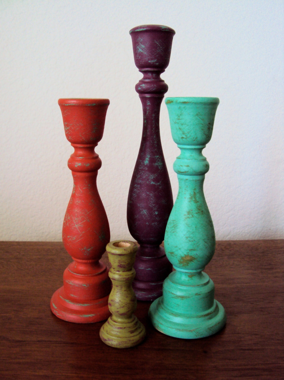 Distressed Wood Candlesticks Set Colorful Boho Decor Four