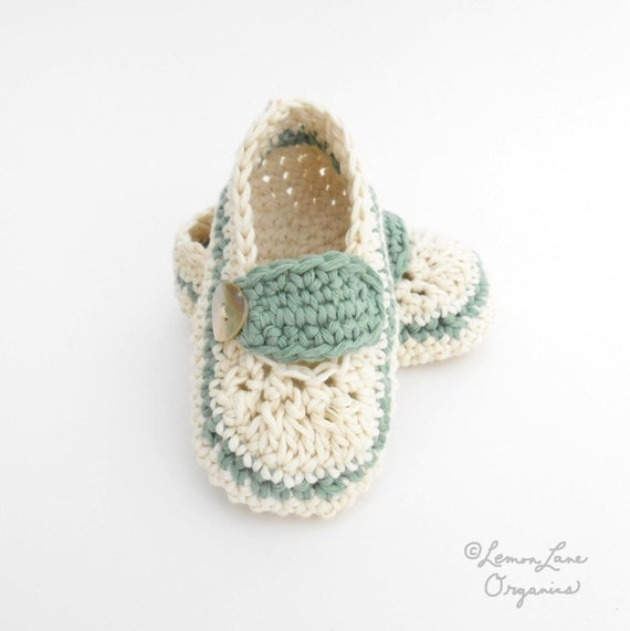 Crochet Baby Booties Toddler Girl's Summer Slippers Organic Baby Shoes Moccasins Cream Ivory Sage Green 9 to 12 months size 4/5